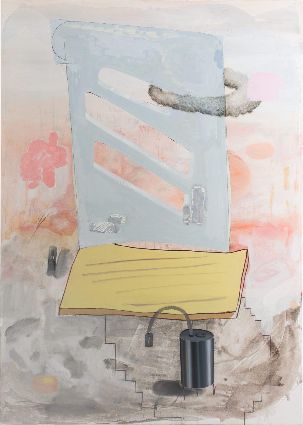 o.T. 54 (2017), Öl, Lack, Kohle auf Leinwand, 280 x 200 cm