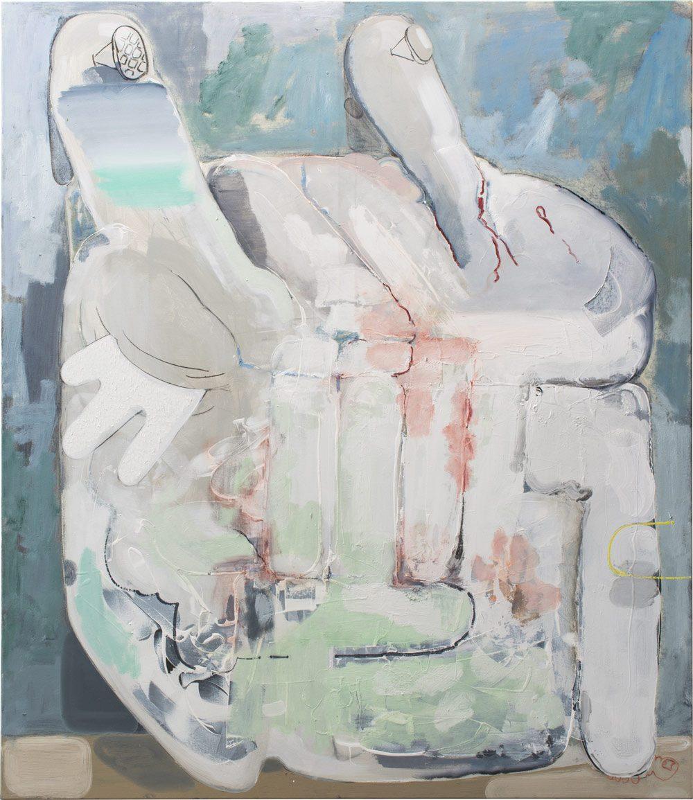 o.T. 52 (2017), Öl, Lack, Kohle auf Leinwand, 185 x 160 cm