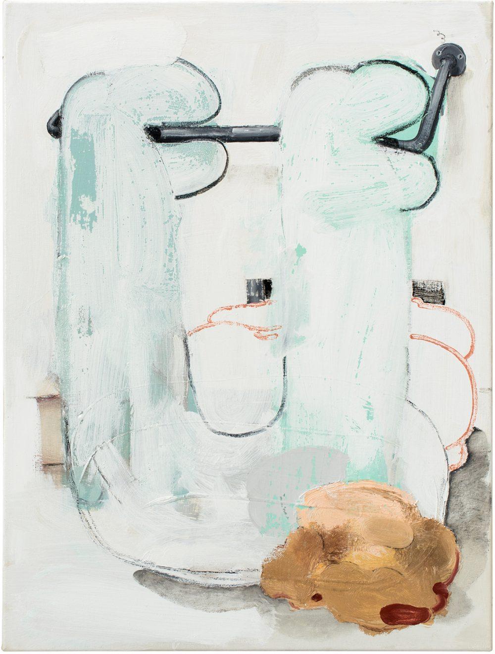 o.T. 66 (2017), Öl, Lack, Kohle auf Leinwand, 88 x 66 cm