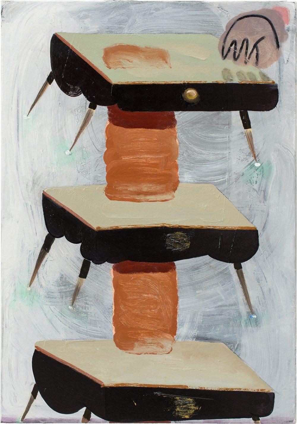 o.T. 55 (2017), Öl, Lack, Kohle auf Leinwand, 100 x 70 cm