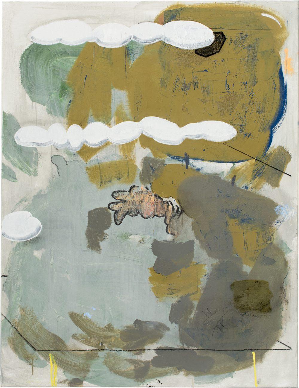 o.T. 57 (2017), Öl, Lack, Kohle auf Leinwand, 130 x 100 cm
