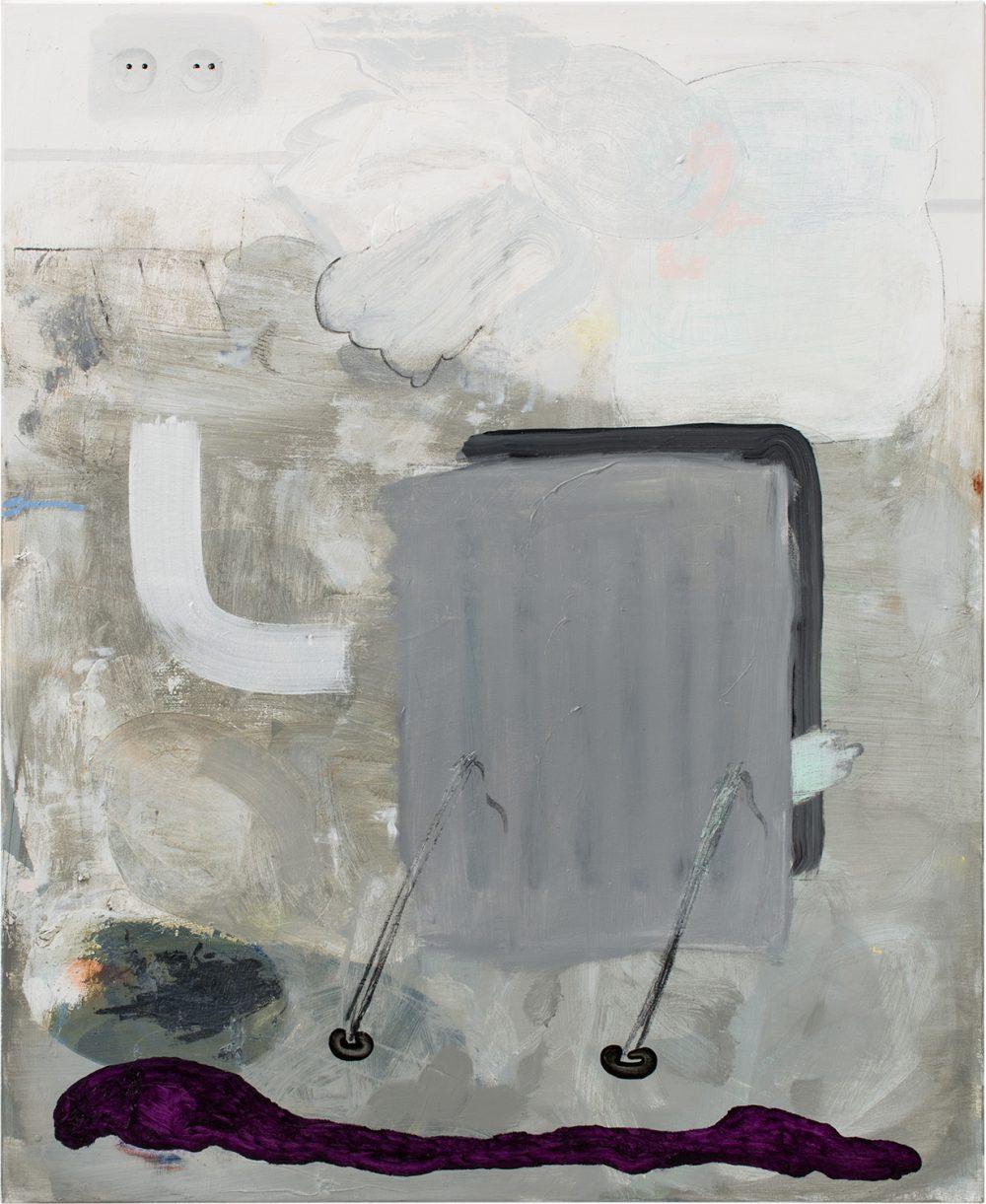o.T. 59 (2017), Öl, Lack, Kohle auf Leinwand, 140 x 115 cm