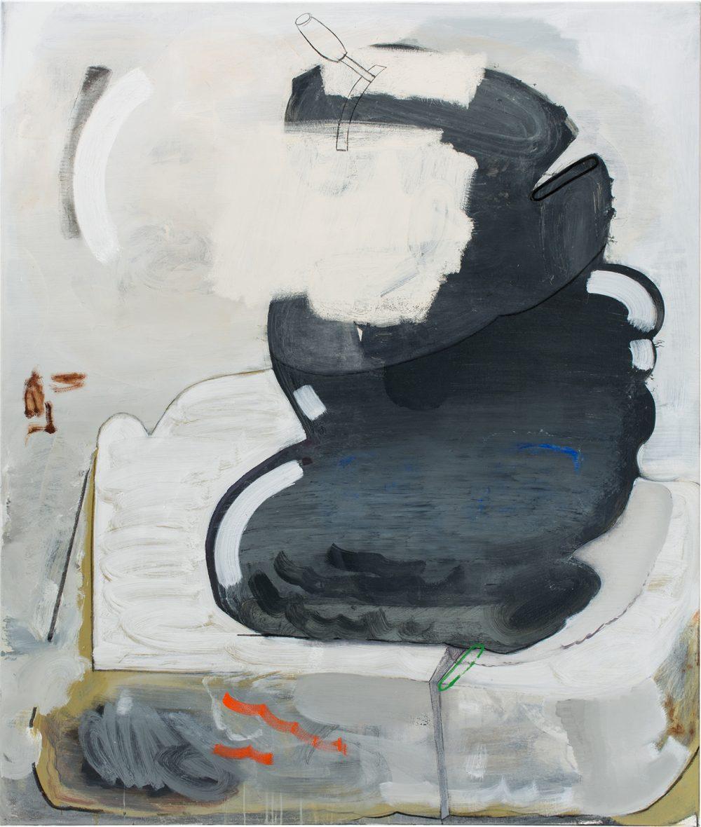 o.T. 60 (2017), Öl, Lack, Kohle auf Leinwand, 185 x 155 cm