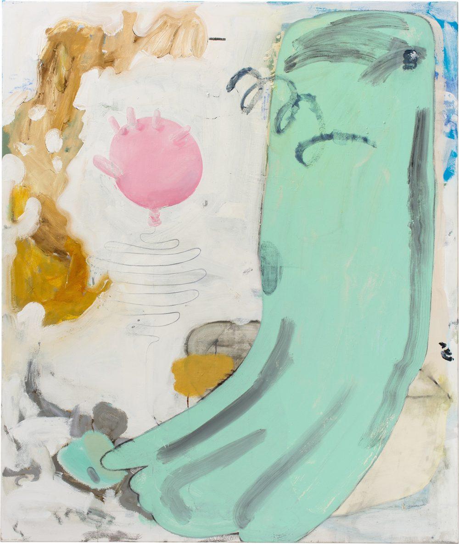 o.T. 61 (2017), Öl, Lack, Kohle auf Leinwand, 190 x 160 cm