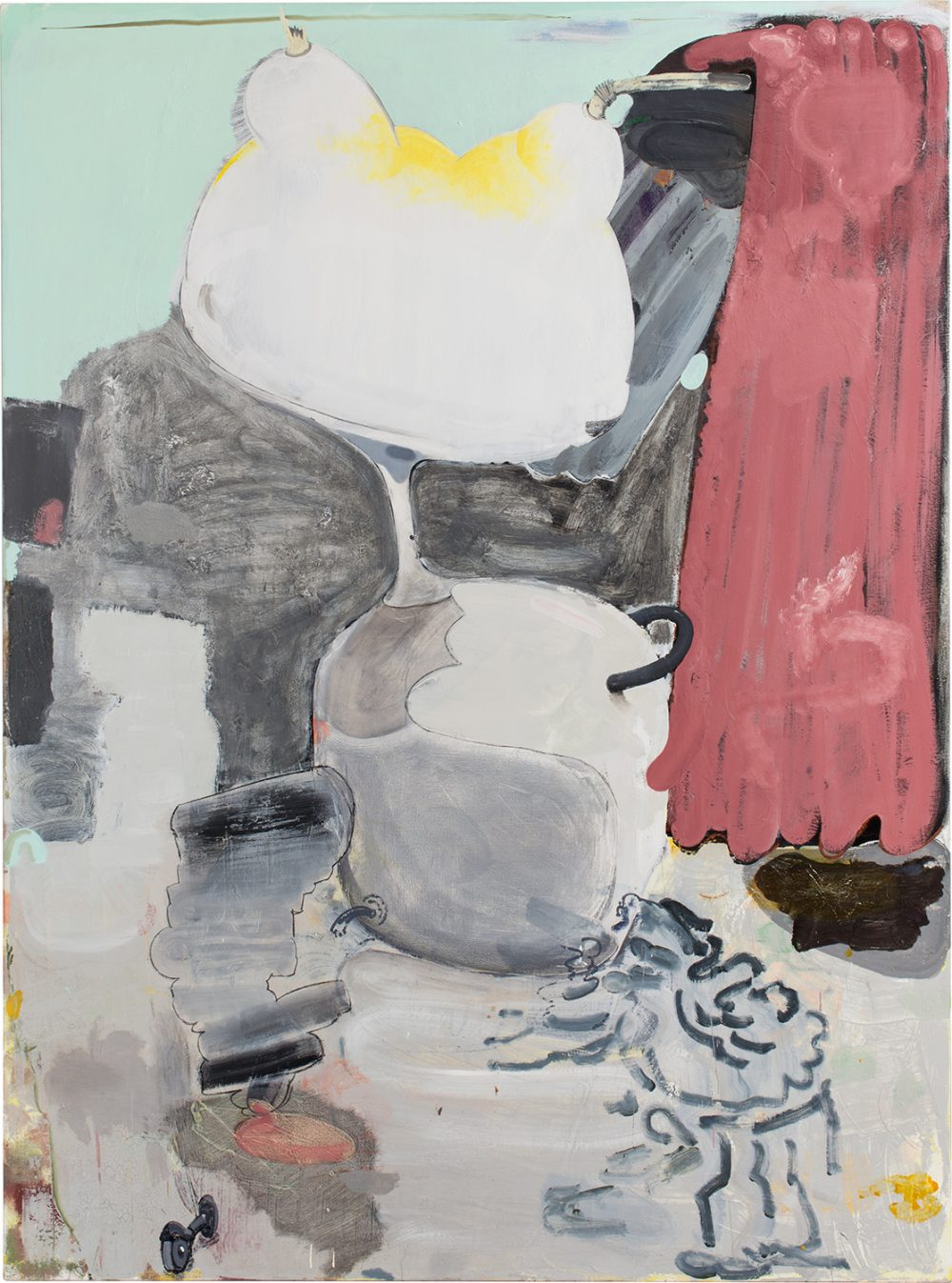 o.T. 62 (2017), Öl, Lack, Kohle auf Leinwand, 250 x 185 cm
