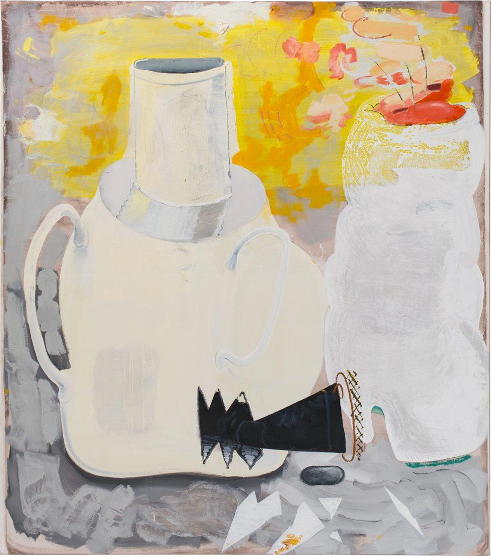 o.T. 63 (2017), Öl, Lack, Kohle auf Leinwand, 200 x 175 cm