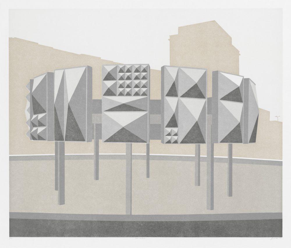 Der Platz (2015), Farblinolschnitt auf Zerkall, 56,5 x 67,5 cm