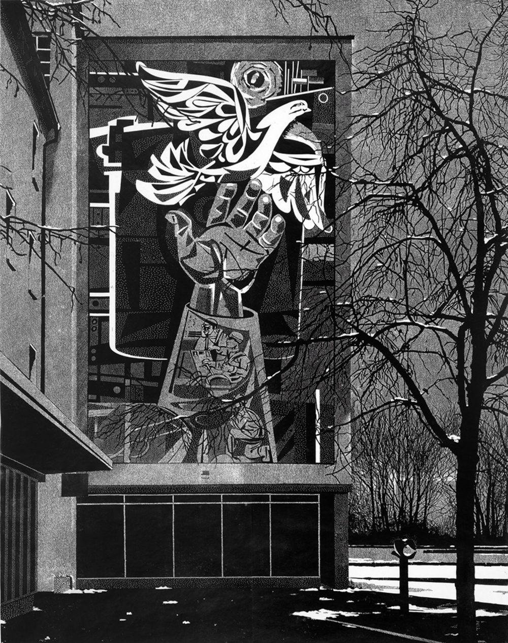 Der neue Mensch (2013), Linolschnitt auf Papier, 218 x 173 cm,  Ed. 5