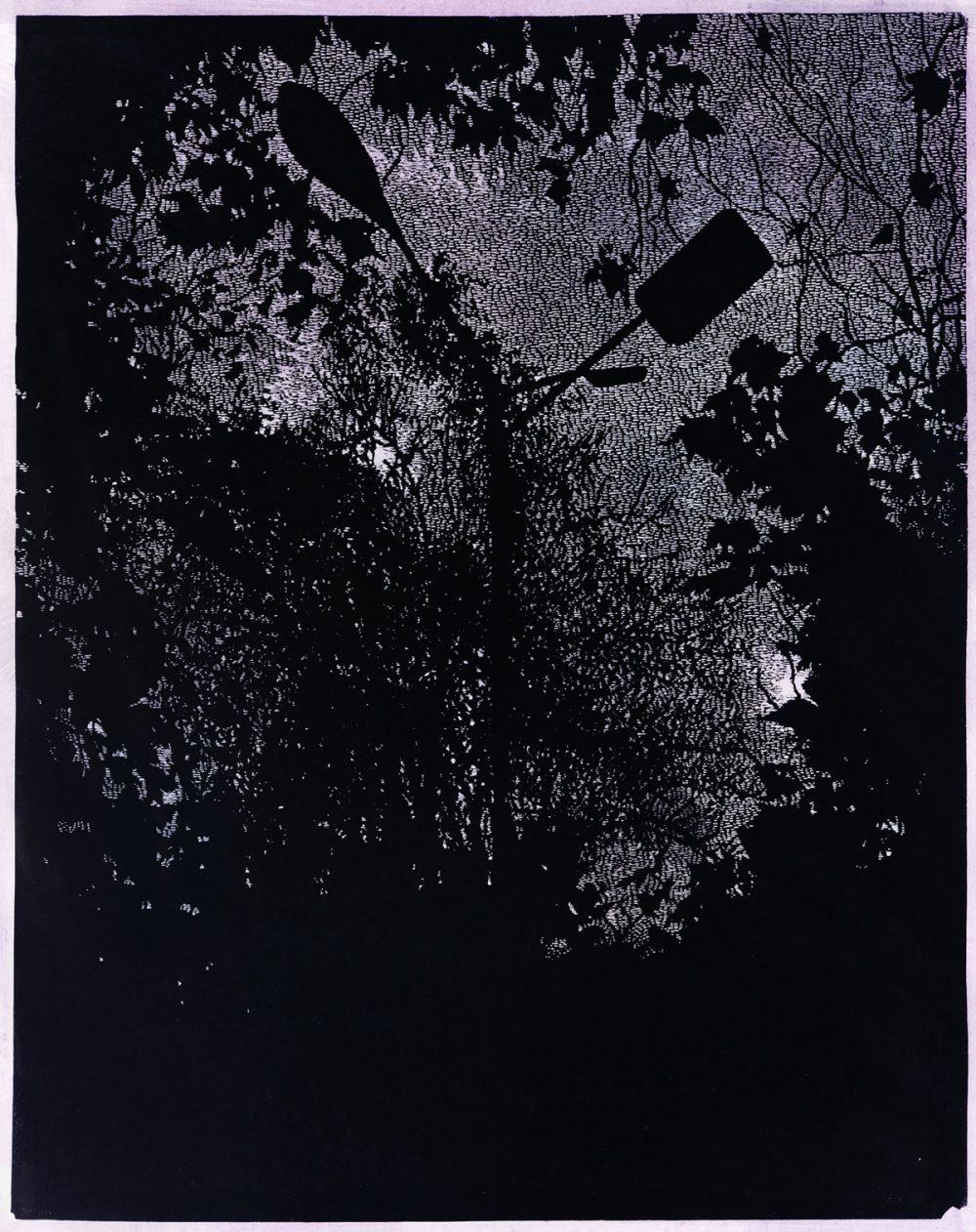 Hof (2010), Linolschnitt auf Papier, 80 x 64 cm, Ed. 5