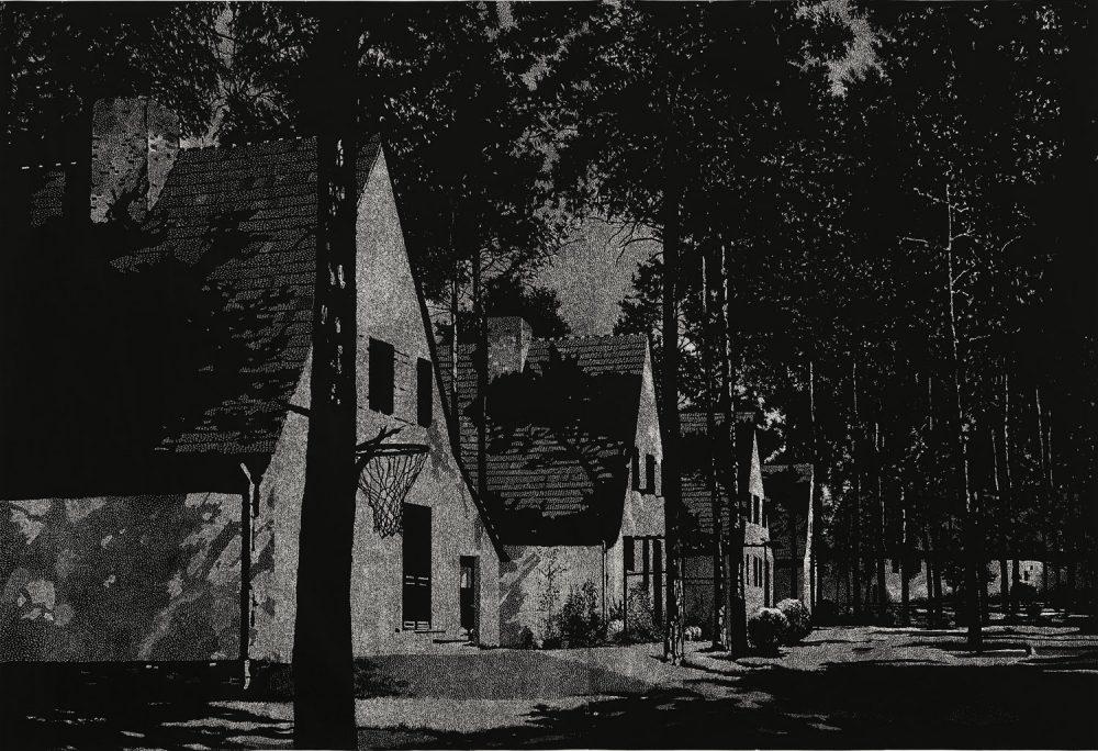 Krumme Lanke (2010), Linolschnitt auf Papier, 184 x 268 cm, Ed. 5