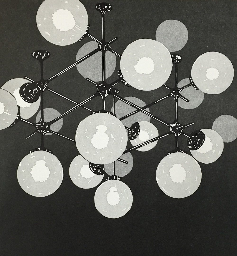 Palast (2016), 32 x 35 cm, Linolschnitt auf Papier, Ed. 10