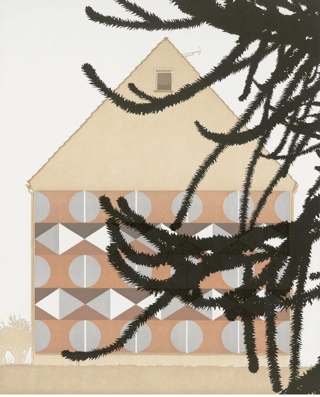 Vorgarten (2014), Farblinolschnitt auf Papier,  66 x 53.5 cm, Ed. 6