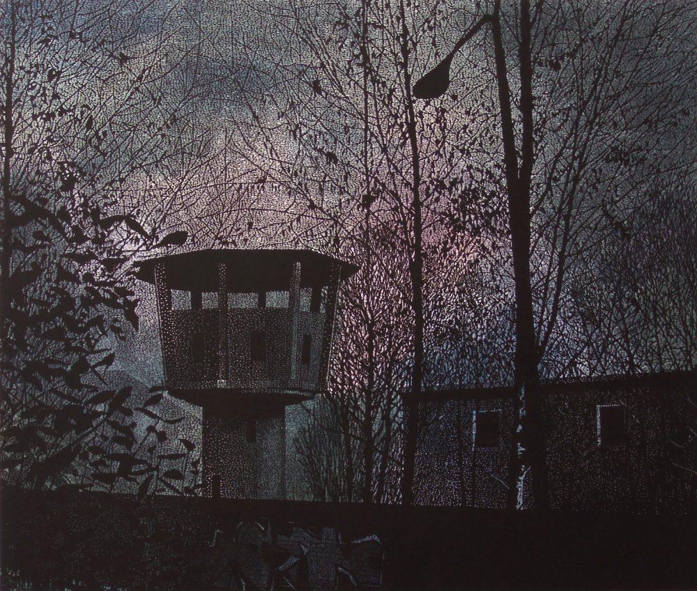 Watchtower (2010), Linolschnitt auf Papier, 83 x 98 cm, Ed. 10