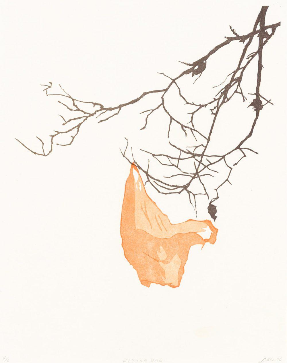 Flying Bag (2016), 32 x 25 cm, Linolschnitt auf Papier, Ed. 6
