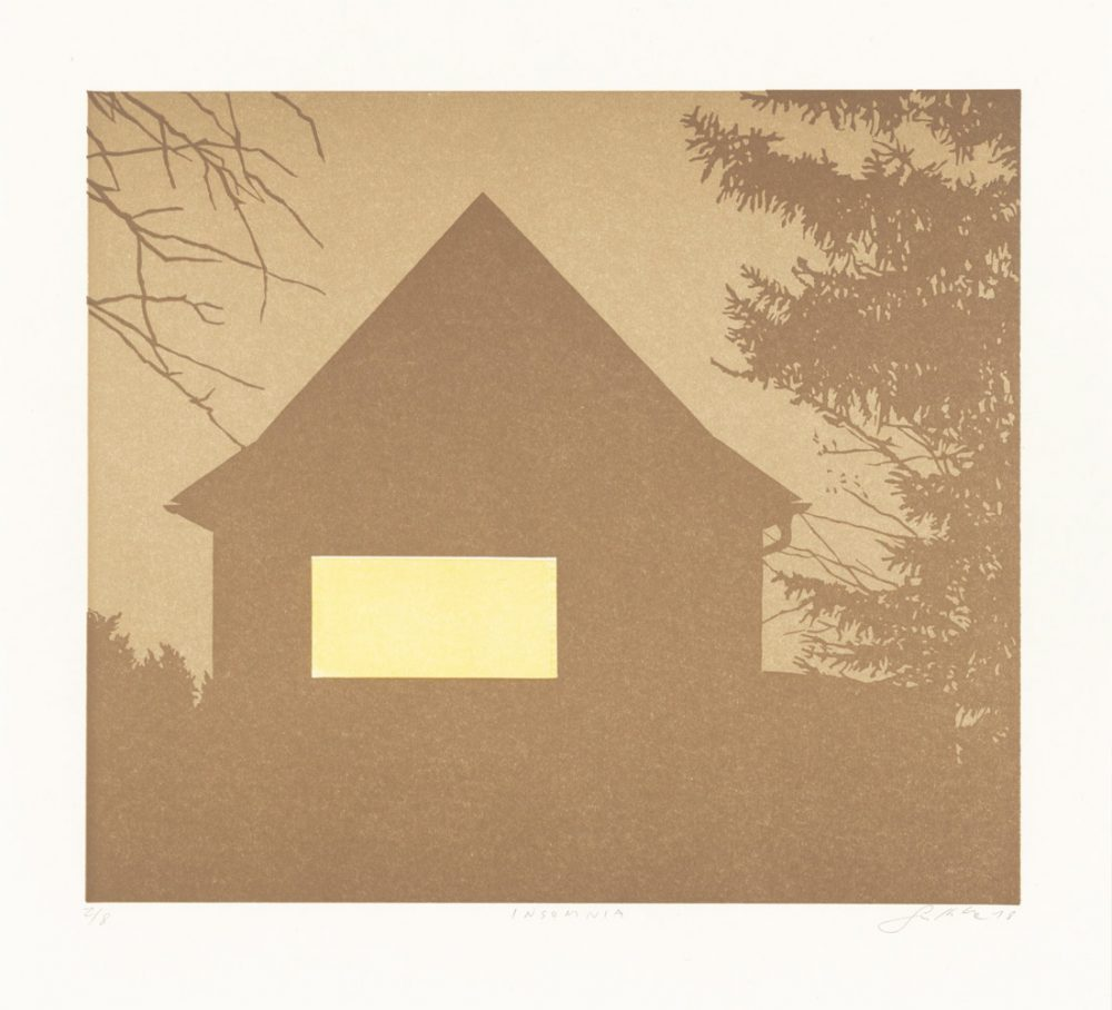 Insomnia (2018), 21 x 25 cm, linocut on paper