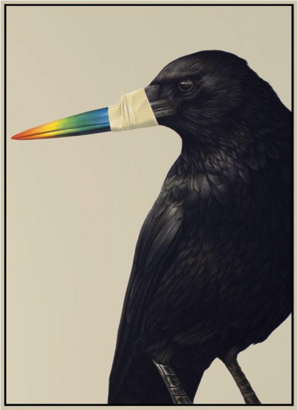 Fremde Federn (2016), Acryl auf Leinwand, 70 x 50 cm