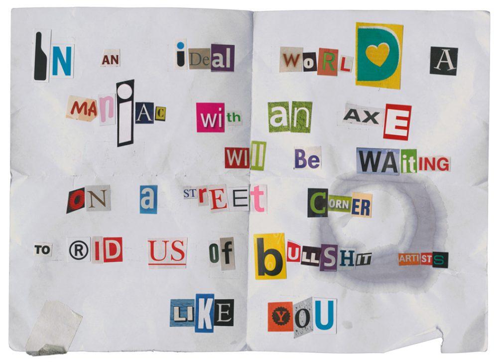 Threat by Crack Hitler, Greece (als Reaktion zu Natascha Stellmachs Projekt Set me free: Who will smoke the ashes of Kurt Cobain?) (2010), Archival ink auf Fotopapier, 30 x 40 cm, Ed. 5