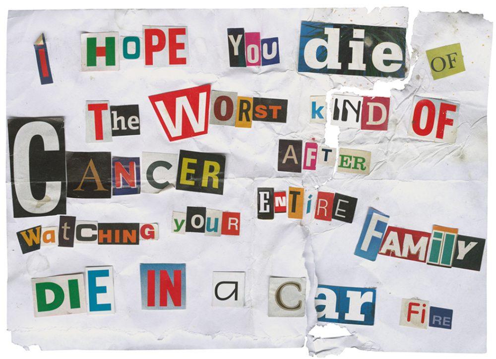 Threat by Eric, Canada (als Reaktion zu Natascha Stellmachs Projekt Set me free: Who will smoke the ashes of Kurt Cobain?) (2010), Archival ink auf Fotopapier, 30 x 40 cm, Ed. 5