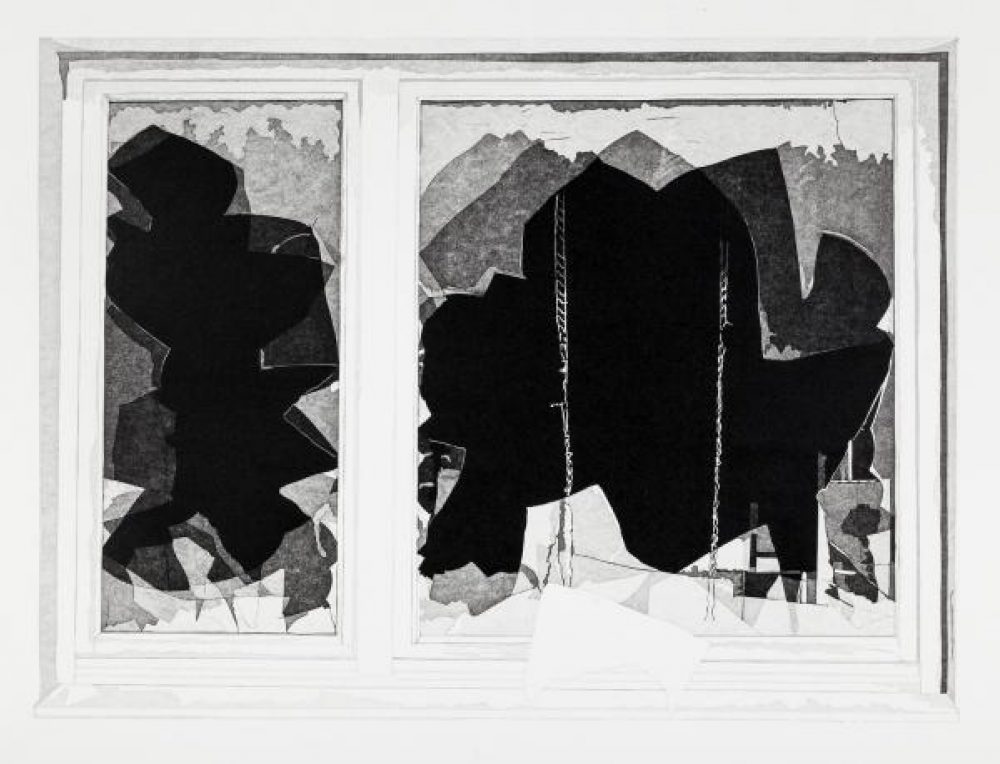 Fenster (2016), linocut, 46 x 62 cm (paper: 56 x 74 cm)