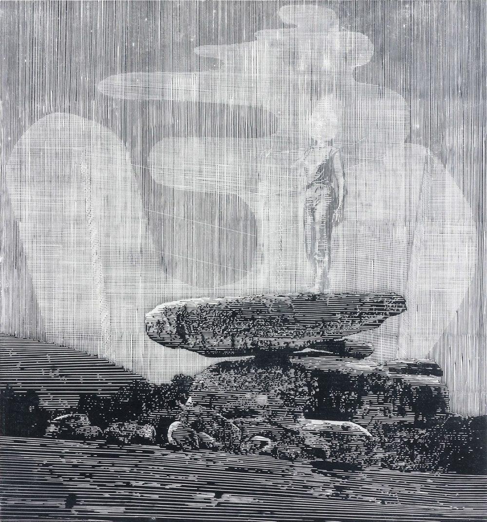 Basis (2018), linocut, 67 x 62 cm