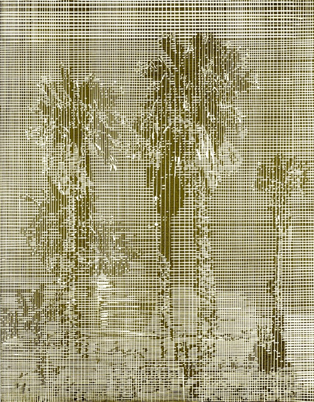 Lese (2018), linocut, 27 x 21 cm