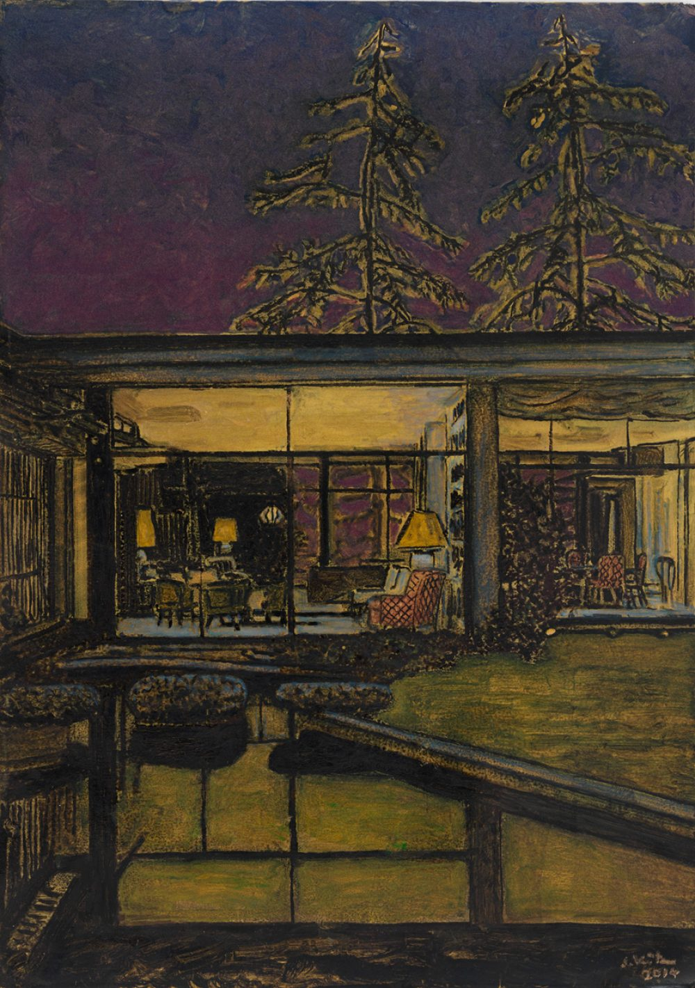 Purple (2014), Acryl und Tusche auf Papier, 29,7 x 21 cm